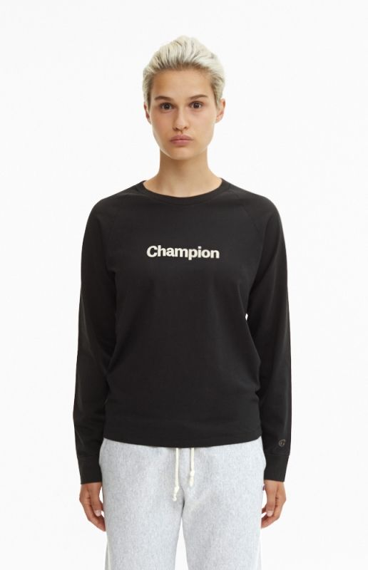 Type Shirts Champion Wmns Black C Collection Long Sleeve T-Shirt