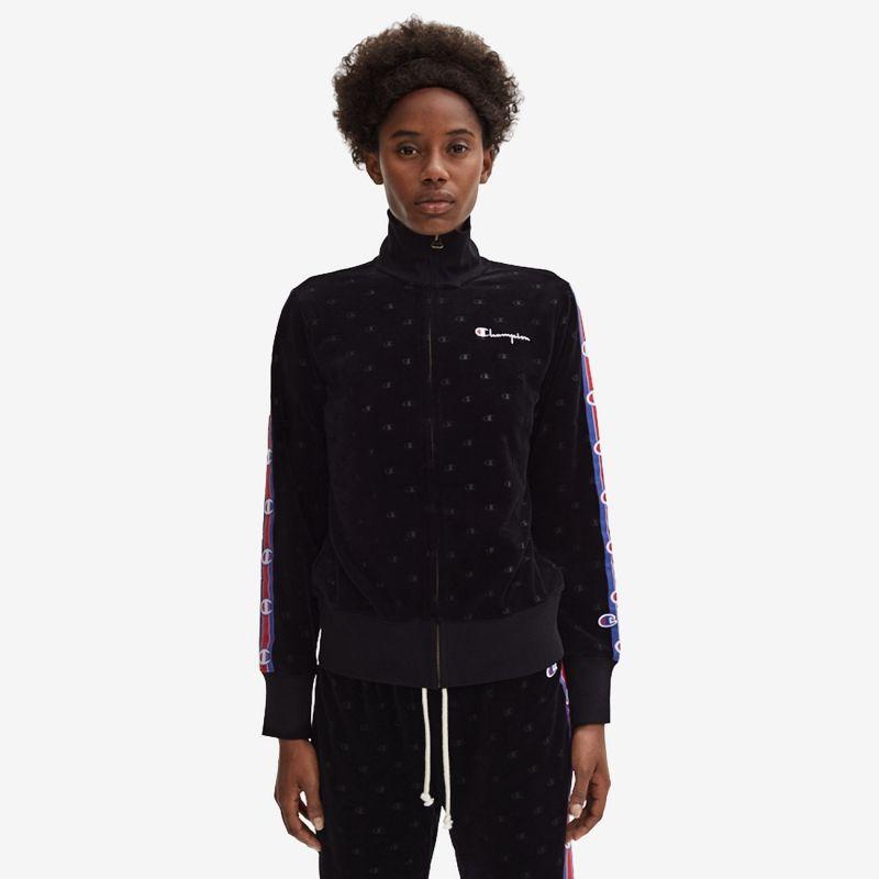 Type Hoodies Champion Wmns Burnout Logo Effect Cropped Velour Jacket