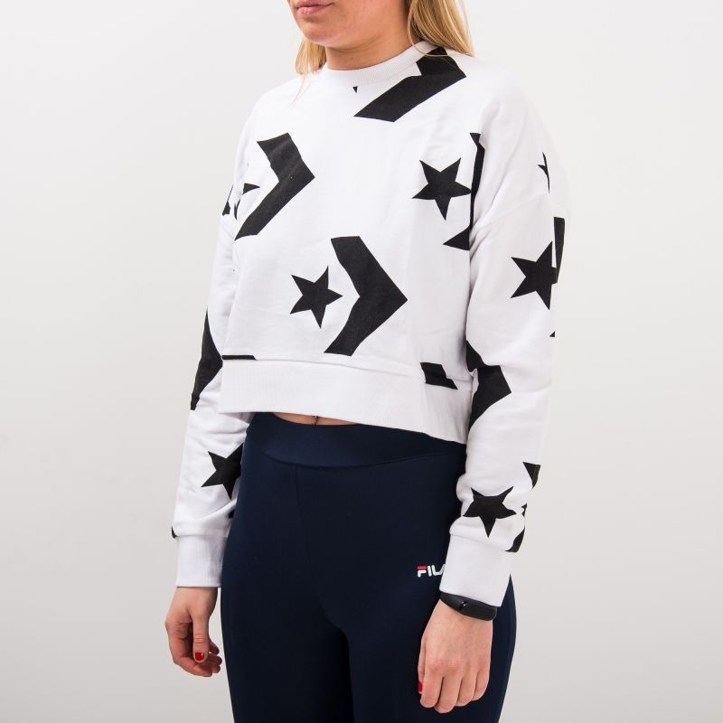 Type Hoodies Converse Wmns Star Chevron Cropped Sweater