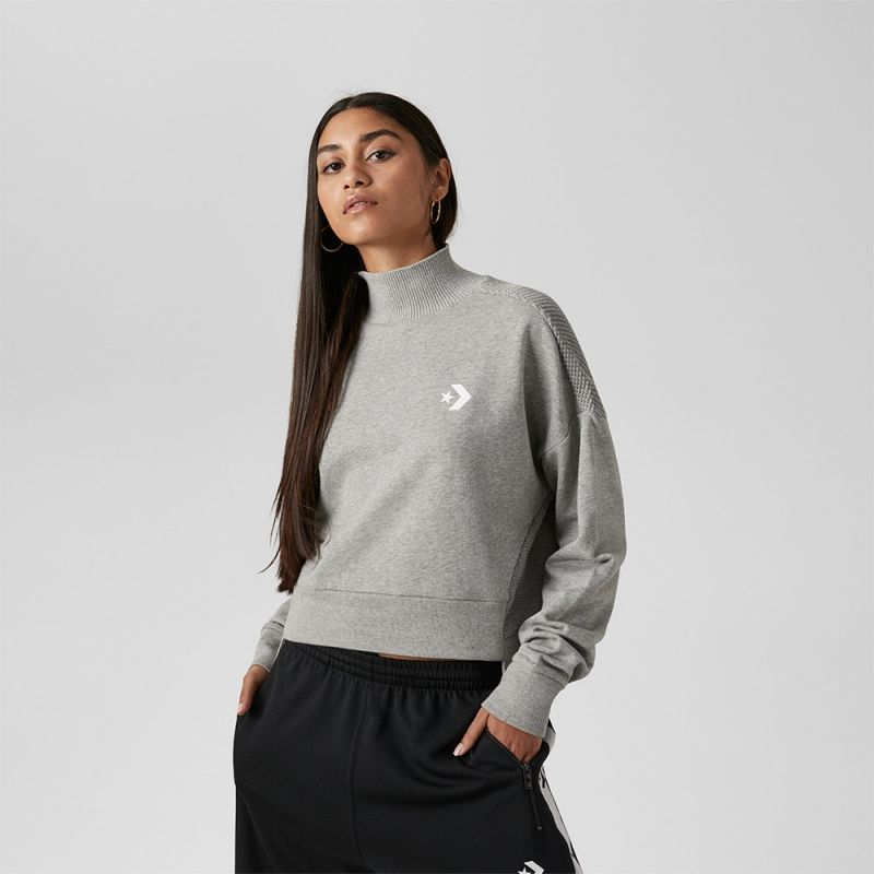 Type Hoodies Converse Wmns Sweater Knit Mock Neck Shirt