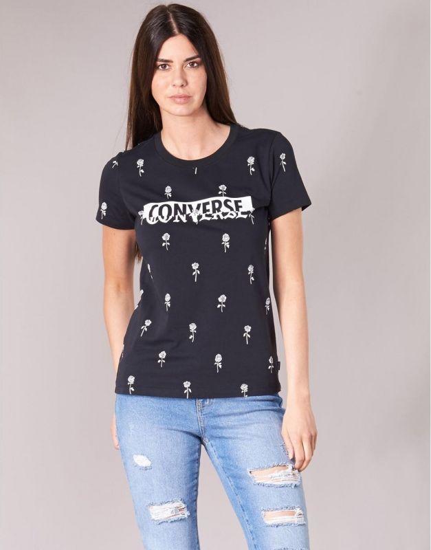Тениска Converse Wmns Rose Print Crew Tee