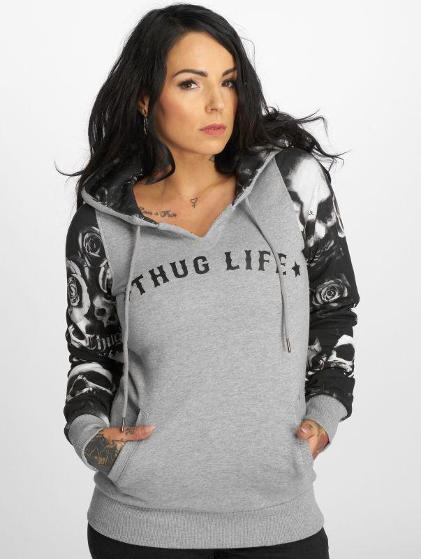 Thug Life / Hoodie Skullpattern in grey