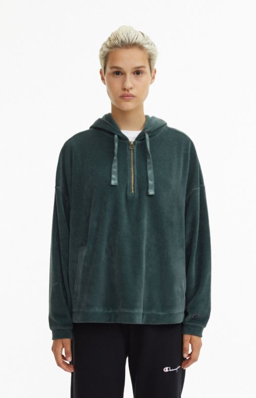 Суичър Champion Wmns Velour Half Zip Oversized Hoodie