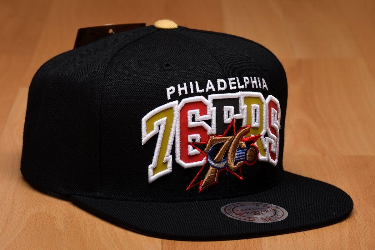Type Caps Mitchell  amp  Ness NBA Philadelphia 76ers Reflective Tri Pop  Arch Snapback Cap c63878f63