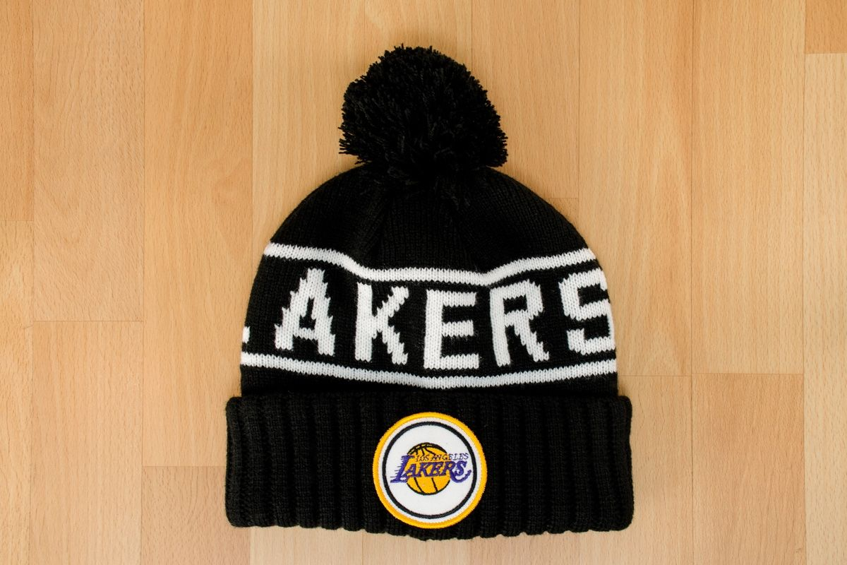5de6dfb071f Type Caps Mitchell  amp  Ness NBA Los Angeles Lakers Glow in the Dark Pom  Knit Beanie