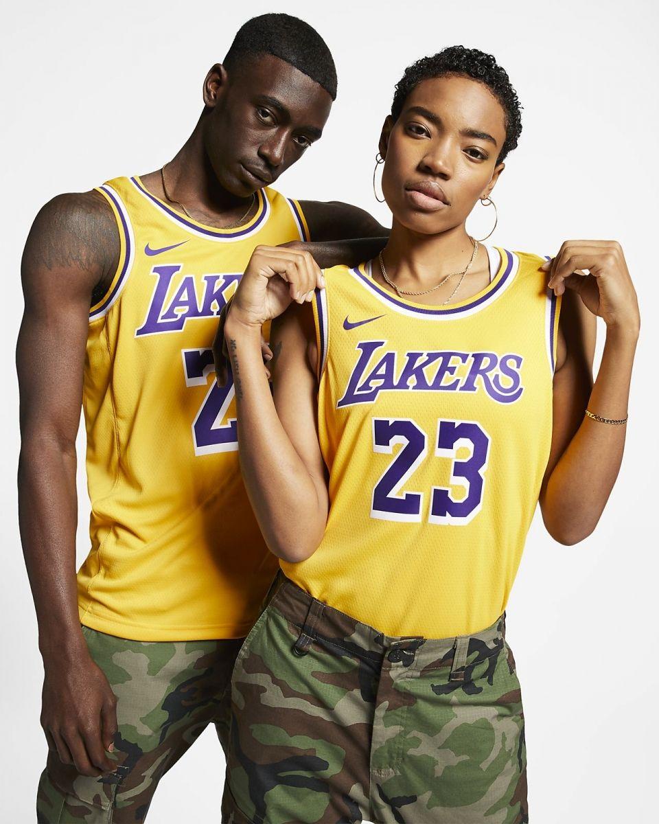 promo code 7ee38 45bcb Type Shirts Nike NBA Los Angeles Lakers Lebron James Icon Edition Swingman  Jersey