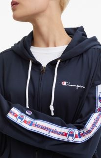 Type Hoodies Champion Wmns Logo Tape Hooded Tracksuit Jacket