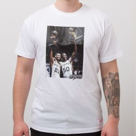 Type Shirts Mitchell & Ness San Antonio Spurs Tim Duncan & David Robinson Real Player Print Tee