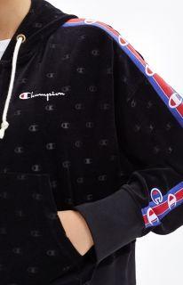 Type Hoodies Champion Wmns Burnout Logo Effect Cropped Velour Hoodie