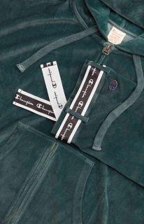 Type Hoodies Champion Wmns Velour Zip Through Oversized Logo Tape Hoodie