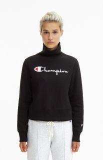 Type Hoodies Champion Wmns High Neck Cropped Reverse Weave Sweatshirt