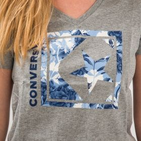 Type Shirts Converse Wmns Linear Floral Box Star V Neck Tee