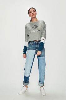 Type Shirts Converse Wmns Colorblocked Cropped Longsleeve T-Shirt