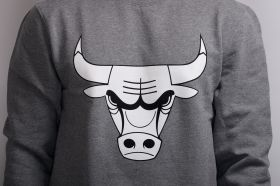 Суичър Mitchell & Ness NBA Chicago Bulls Black And White Logo Crew