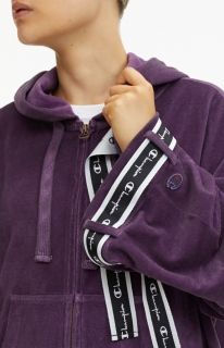 Суичър Champion Wmns Velour Zip-Through Oversized Logo Tape Hoodie