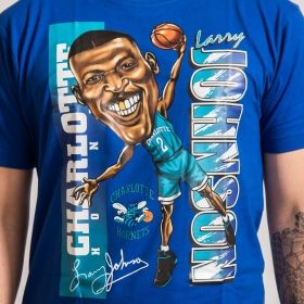 Тениска Mitchell & Ness Caricature Charlotte Hornets Larry Johnson Tee